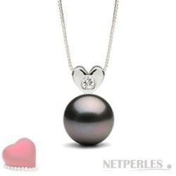 Sterling Silver Diamond Tahitian Pearl Pendant AAA