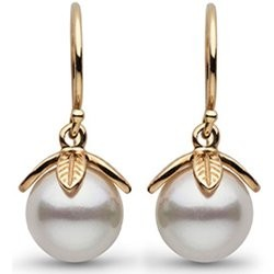 14k Gold 8-9 mm AAA Freshwater Pearl Dangle Earrings