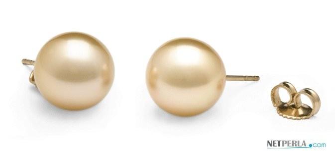 Golden South Sea Pearl Stud Earrings 9-10 mm AAA