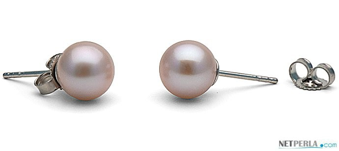 Freshwater Pearl Stud Earrings 6-7 mm round AAA Lavender
