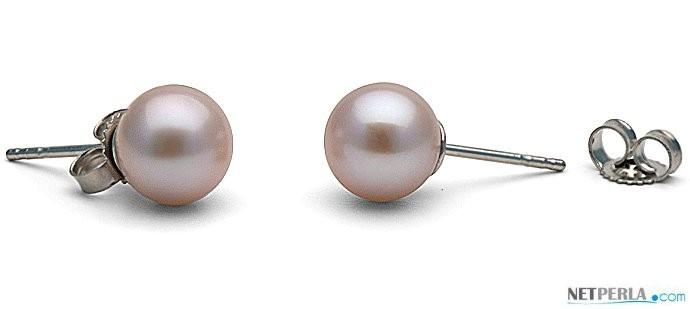 Freshwater Pearl Stud Earrings 7-8 mm round AAA Lavender