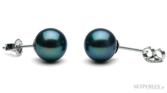 Freshwater Pearl Stud Earrings 9-10 mm round AAA Black