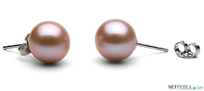 Freshwater Pearl Stud Earrings 9-10 mm round AAA Lavender