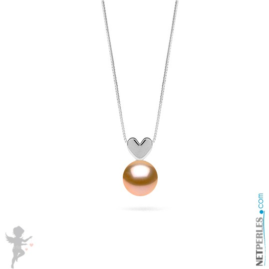 Pink to Peach Freshwater Pearl Pendant - Sterling Silver