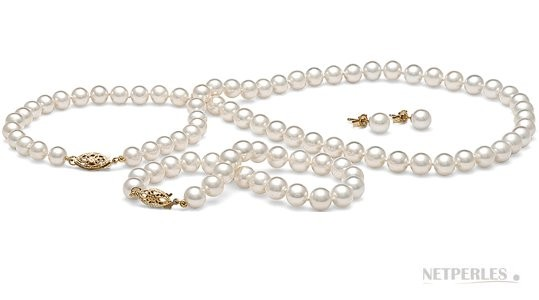 3-Piece White Freshwater Pearl Set 18-7 inch, 6-7 mm
