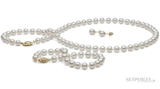 3-Piece White Akoya Pearl Set 18-7 Inch 6-6.5 mm