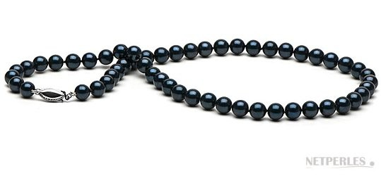 18-inch Black Akoya Pearl Necklace 6.5-7 mm AA+