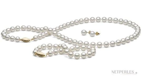 3-Piece White Akoya Pearl Set 18-7 Inch 6.5-7 mm