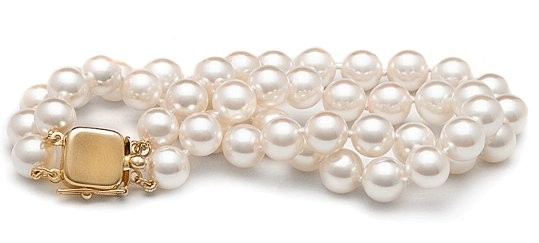 7-inch Double-Strand Akoya Pearl Bracelet 7-7.5 mm AA+ or AAA White