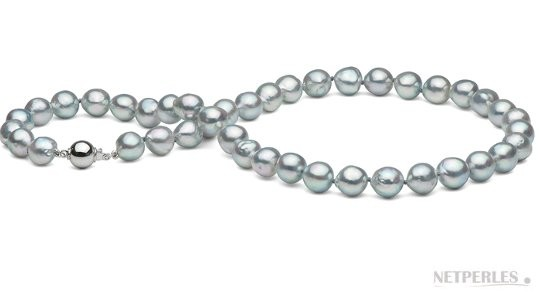 18-inch Silver Blue Baroque Akoya Pearl Necklace 8.5-9 mm