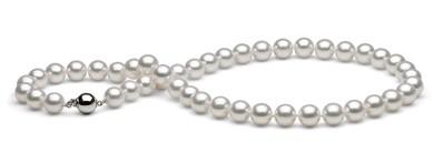 18-inch Akoya Hanadama Pearl Necklace, White 9-9.5 mm