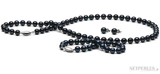 3-Piece Black Akoya Pearl Set 18-7 Inch 6.5-7 mm AA+