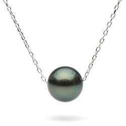Round Tahitian Pearl on Sterling Silver Forzatina Chain