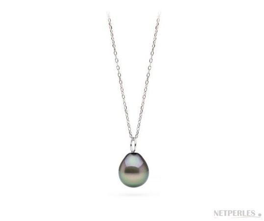 Sterling Silver Tahitian Drop Pearl Pendant MIGNON AAA