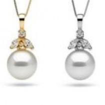 White South Sea Pearl Pendant 14k Gold and Diamonds