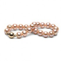 7-inch Freshwater Pearl Bracelet 9-10 mm Pink to Peach
