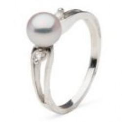 Diamond and Akoya Pearl Ring 6-6.5 mm AAA