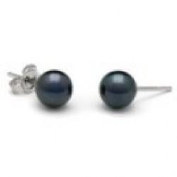 Black Akoya Pearl Stud Earrings 6.5-7 mm AA+ or AAA