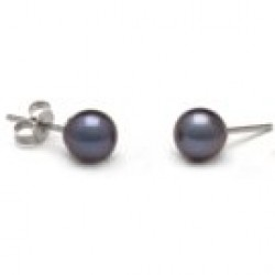 Freshwater Pearl Stud Earrings 6-7 mm round AAA Black