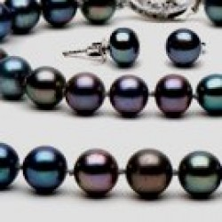 3-Piece Black Freshwater Pearl Set 18-7 Inch 7-8 mm