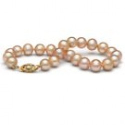 7-inch Freshwater Pearl Bracelet 7-8 mm Pink to Peach