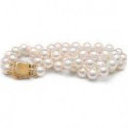 7-inch Double-Strand Akoya Pearl Bracelet 7-7.5 mm AA+ or AAA White