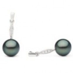 Black Tahitian Pearls on Silver Dangle Earrings with Diamonds
