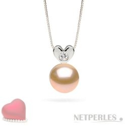 Sterling Silver Pink to Peach Freshwater Pearl Diamond Pendant