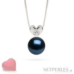 Sterling Silver Black AAA Akoya Pearl Diamond Pendant