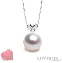 Sterling Silver Diamond White South Sea Pearl Pendant  9-10 mm AAA