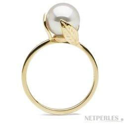 FEUILLE collection White Akoya Pearl Ring 8.5-9 mm AAA