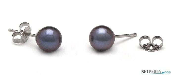 Freshwater Pearl Stud Earrings 6-7 mm round AAA Black