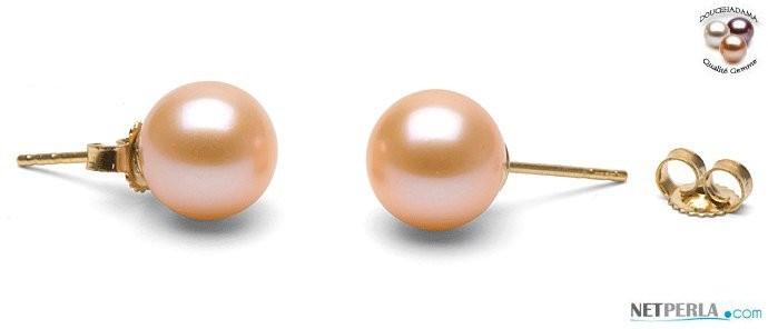 Pink to Peach Freshadama Freshwater Pearl Stud Earrings 8-9 mm