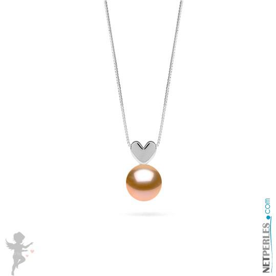 Peach Freshadama Freshwater Pearl Pendant - Sterling Silver