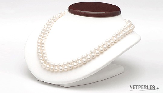 Double Strand Freshwater Pearl Necklace 8-9 mm white