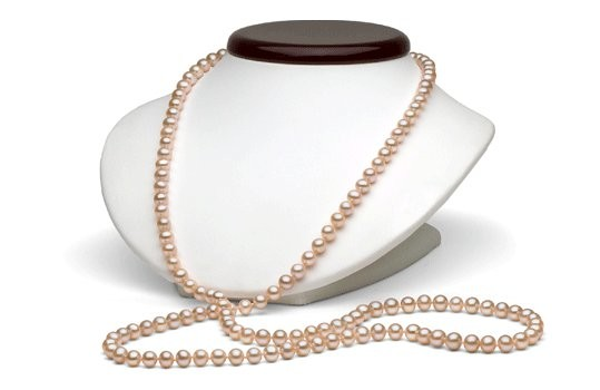 45-inch Freshwater Pearl Necklace, 7-8 mm, Pink to Peach
