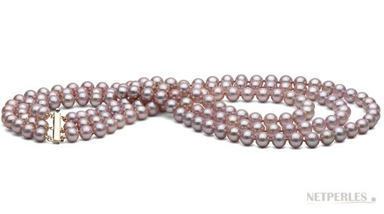 Triple Strand Freshwater Lavender Pearl Necklace 6-7 mm