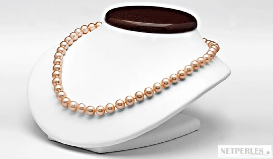 18-inch Freshwater Pearl Necklace 9-10 mm Pink to Peach