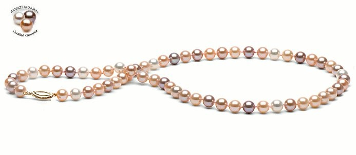 18-inch Freshwater Pearl Necklace 6-7 mm Multicolor FRESHADAMA