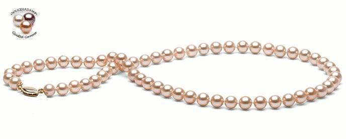 18-inch Freshwater Pearl Necklace 7-8 mm  Peach FRESHADAMA
