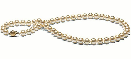 18-inch Rare Golden Akoya Pearl Necklace 7-7.5 mm AAA