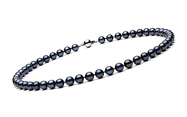 16-inch Black Akoya Pearl Necklace 7-7.5 mm AA+