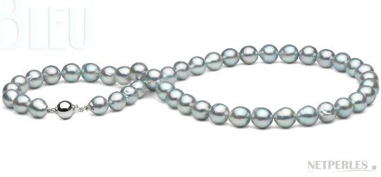 18-inch Silver Blue Baroque Akoya Pearl Necklace 8-8.5 mm