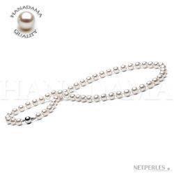 18-inch Akoya Hanadama Pearl Necklace, White 7-7.5 mm