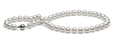 18-inch Akoya Hanadama Pearl Necklace, White 9-9.5 mm
