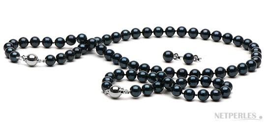 3-Piece Black Akoya Pearl Set 18-7 Inch 7-7.5 mm AA+