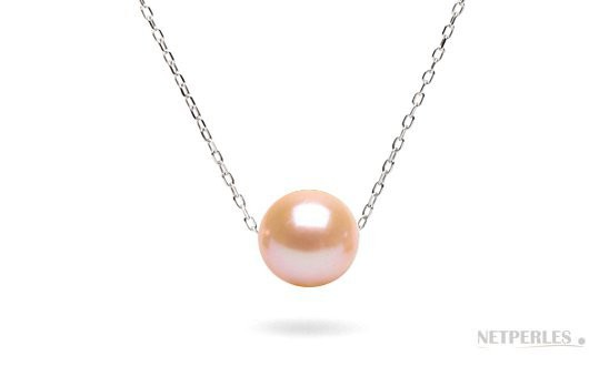 Pink-to-peach Freshadama Pearl on Sterling Silver Forzatina