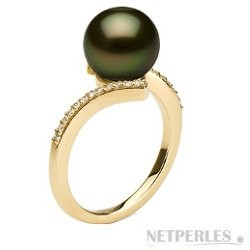 KARMA collection Black Tahitian 9-10 mm AAA Pearl Ring