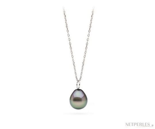 Sterling Silver Tahitian Drop Pearl Pendant MIGNON AAA