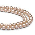 Double Strand Peach Freshwater Pearl Necklace 6-7 mm